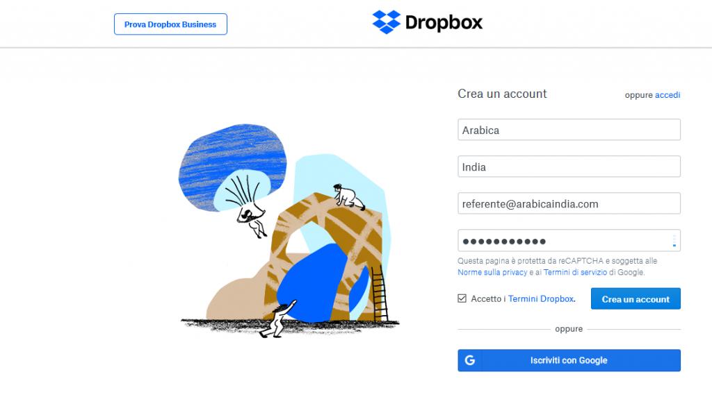 Dropbox creazione account